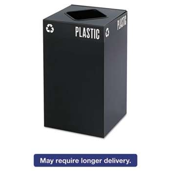 SAFCO PRODUCTS Public Square Recycling Container, Square, Steel, 25gal, Black