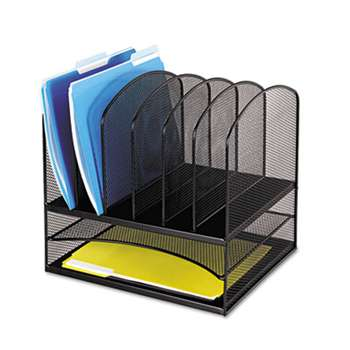 SAFCO PRODUCTS Mesh Desk Organizer, Eight Sections, Steel, 13 1/2 x 11 3/8 x 13, Black