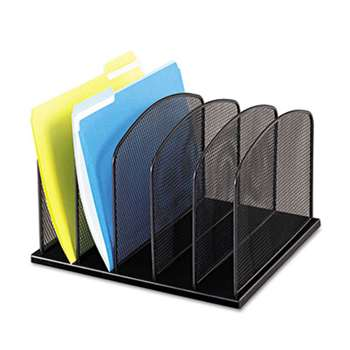 SAFCO PRODUCTS Mesh Desk Organizer, Five Sections, Steel, 12 1/2 x 11 1/4 x 8 1/4, Black