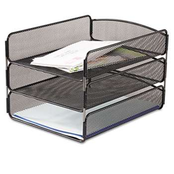 SAFCO PRODUCTS Desk Tray, Three Tiers, Steel Mesh, Letter, Black