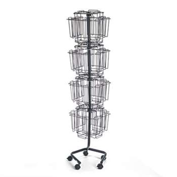 Safco 4128CH Wire Rotary Display Racks, 32 Compartments, 15w x 15d x 60h, Charcoal
