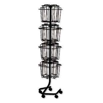 Safco 4139CH Wire Rotary Display Racks, 16 Compartments, 15w x 15d x 60h, Charcoal