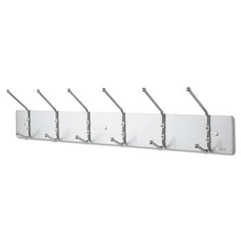 SAFCO PRODUCTS Metal Wall Rack, Six Ball-Tipped Double-Hooks, 36w x 3-3/4d x 7h, Satin Metal