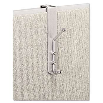 SAFCO PRODUCTS Over-The-Panel Double-Garment Hook, Satin Aluminum/Chrome