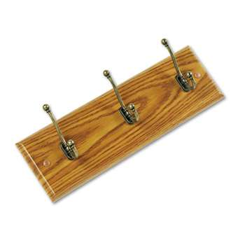SAFCO PRODUCTS Wood Wall Rack, Three Double-Hooks, 18w x 3-1/4d x 6-3/4h, Medium Oak