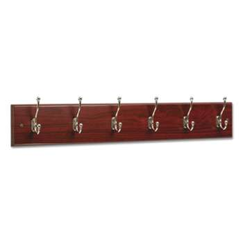SAFCO PRODUCTS Wood Wall Rack, Six Double-Hook, 35-1/2w x 3-1/4d x 6-3/4h, Mahogany