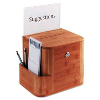 SAFCO PRODUCTS Bamboo Suggestion Box, 10 x 8 x 14, Cherry