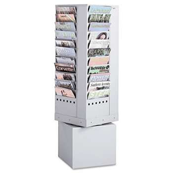 SAFCO PRODUCTS Steel Rotary Magazine Rack, 44 Compartments, 14w x 14d x 48h, Gray