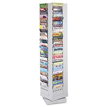 SAFCO PRODUCTS Steel Rotary Magazine Rack, 92 Compartments, 14w x 14d x 68h, Gray