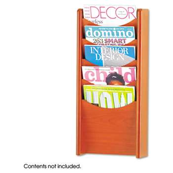 SAFCO PRODUCTS Solid Wood Wall-Mount Literature Display Rack, 11-1/4 x 3-3/4 x 23-3/4, Cherry