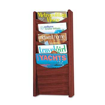 SAFCO PRODUCTS Solid Wood Wall-Mount Literature Display Rack, 11 1/4 x 3 3/4 x 23 3/4, Mahogany