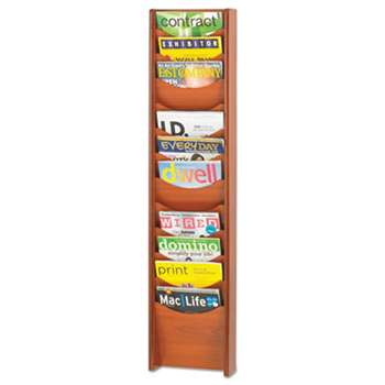 SAFCO PRODUCTS Solid Wood Wall-Mount Literature Display Rack, 11-1/4 x 3-3/4 x 48-3/4, Cherry