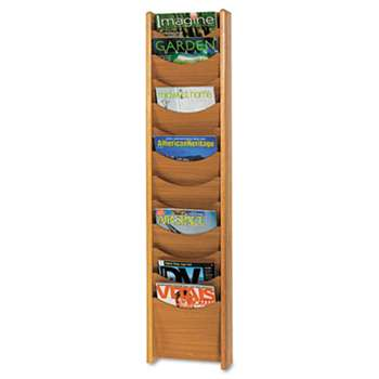 SAFCO PRODUCTS Solid Wood Wall-Mount Literature Display Rack, 11-1/4 x 3-3/4 x 48, Medium Oak