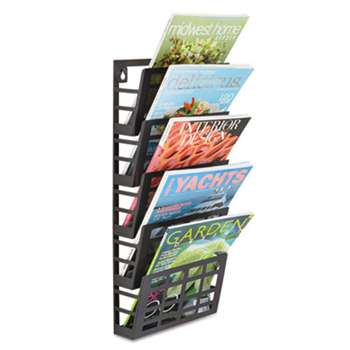 SAFCO PRODUCTS Grid Magazine Rack, Five Compartments, 9-1/2w x 5-1/2d x 21-1/2h, Black