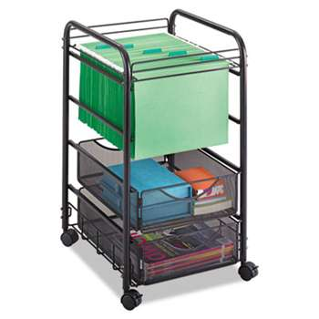 SAFCO PRODUCTS Onyx Mesh Open Mobile File, Two-Drawers, 15-3/4w x 17d x 27h, Black