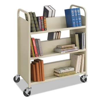 SAFCO PRODUCTS Steel Book Cart, Six-Shelf, 36w x 18-1/2d x 43-1/2h, Sand