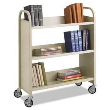 SAFCO PRODUCTS Steel Book Cart, Three-Shelf, 36w x 14-1/2d x 43-1/2h, Sand