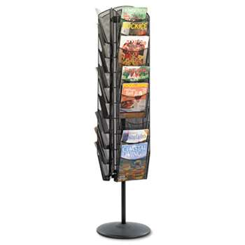 SAFCO PRODUCTS Onyx Mesh Rotating Magazine Display, 30 Compartments, 16-1/2w x 66h, Black