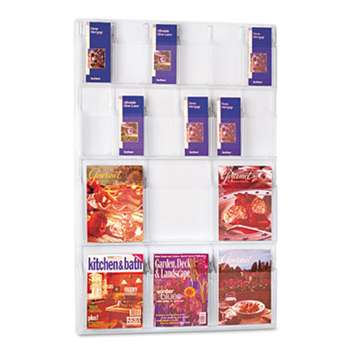 SAFCO PRODUCTS Reveal Clear Literature Displays, 18 Compartments, 30w x 2d x 45h, Clear