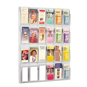 SAFCO PRODUCTS Reveal Clear Literature Displays, 24 Compartments, 30w x 2d x 41h, Clear