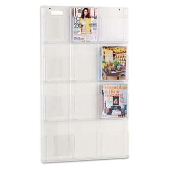 SAFCO PRODUCTS Reveal Clear Literature Displays, 12 Compartments, 30w x 2d x 49h, Clear