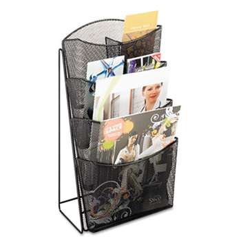 SAFCO PRODUCTS Onyx Mesh Counter Display, Four Compartments, 9-3/4w x 6-1/2d x 18h, Black