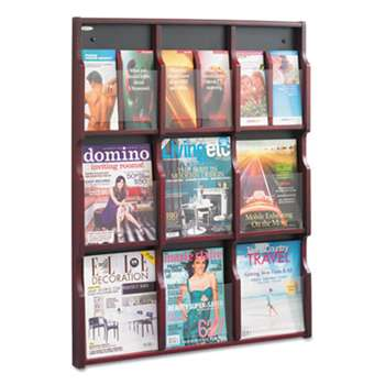 SAFCO PRODUCTS Expose Adj Magazine/Pamphlet Nine Pocket Display, 29-3/4w x 38-1/4h, Mahogany