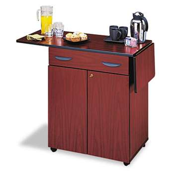 SAFCO PRODUCTS Hospitality Service Cart, One-Shelf, 32-1/2w x 20-1/2d x 38-3/4h, Mahogany