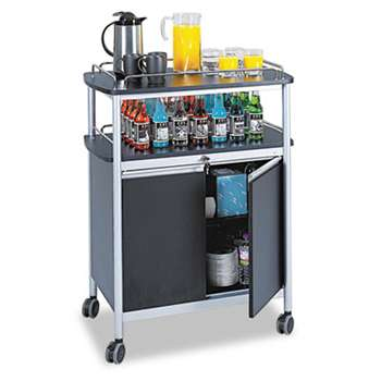 SAFCO PRODUCTS Mobile Beverage Cart, 33-1/2w x 21-3/4d x 43h, Black