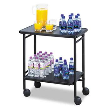 SAFCO PRODUCTS Folding Office/Beverage Cart, Two-Shelf, 25w x 15d x 30h, Black