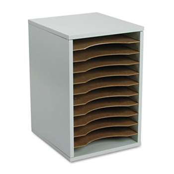 SAFCO PRODUCTS Wood Vertical Desktop Literature Sorter, 11 Sections 10 5/8 x 11 7/8 x 16, Gray