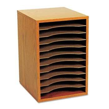 SAFCO PRODUCTS Wood Vertical Desktop Sorter, 11 Sections 10 5/8 x 11 7/8 x 16, Medium Oak
