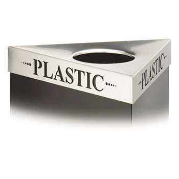 "SAFCO PRODUCTS Triangular Lid For Trifecta Receptacle, Laser Cut ""PLASTIC"" Inscription, STST"