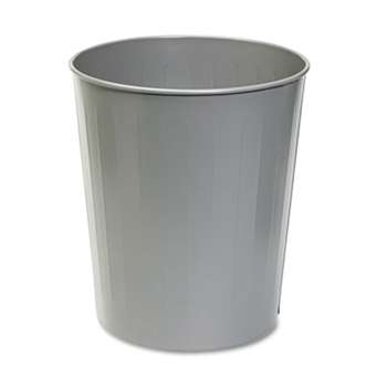SAFCO PRODUCTS Round Wastebasket, Steel, 23.5qt, Charcoal