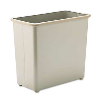 SAFCO PRODUCTS Rectangular Wastebasket, Steel, 27.5qt, Sand