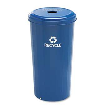 SAFCO PRODUCTS Tall Recycling Receptacle for Cans, Round, Steel, 20gal, Recycling Blue