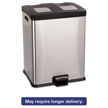 SAFCO PRODUCTS Right-Size Recycling Station, Rectangular, Steel/Plastic, 15gal, Stainless/Blk