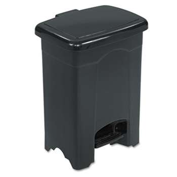 SAFCO PRODUCTS Step-On Receptacle, Rectangular, Plastic, 4gal, Black