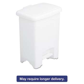 SAFCO PRODUCTS Step-On Receptacle, Rectangular, Plastic, 4gal, White