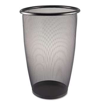 SAFCO PRODUCTS Onyx Round Mesh Wastebasket, Steel Mesh, 9gal, Black