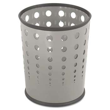 SAFCO PRODUCTS Bubble Wastebasket, Round, Steel, 6gal, Gray