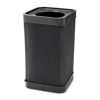 SAFCO PRODUCTS At-Your Disposal Top-Open Waste Receptacle, Square, Polyethylene, 38gal, Black