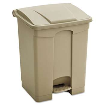 SAFCO PRODUCTS Large Capacity Plastic Step-On Receptacle, 17gal, Tan