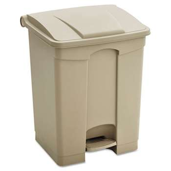 SAFCO PRODUCTS Large Capacity Plastic Step-On Receptacle, 23gal, Tan