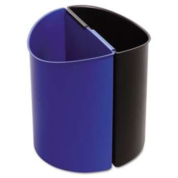 SAFCO PRODUCTS Desk-Side Recycling Receptacle, 3gal, Black and Blue