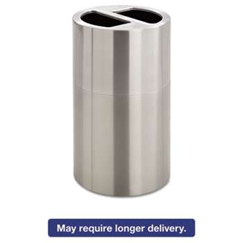 SAFCO PRODUCTS Dual Recycling Receptacle, 30gal, Stainless Steel