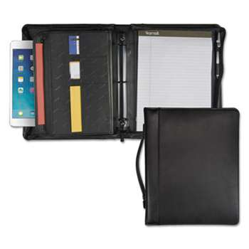 "SAMSILL CORPORATION Leather Multi-Ring Zippered Portfolio, Two-Part, 1"" Cap, 11 x 13-1/2, Black"