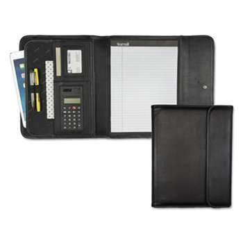 SAMSILL CORPORATION Professional Tri-Fold Padfolio w/Calculator, Writing Pad, Vinyl, Black