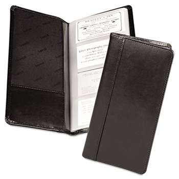 SAMSILL CORPORATION Regal Leather Business Card File, 96 Card Cap, 2 x 3 1/2 Cards, Black