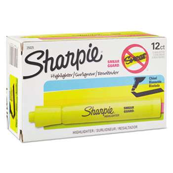 SANFORD Accent Tank Style Highlighter, Chisel Tip, Fluorescent Yellow, Dozen